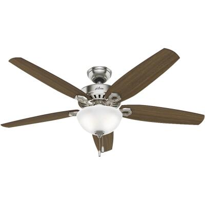 Hunter Builder Great Room 56 In. Brushed Nickel Ceiling Fan with Light Kit