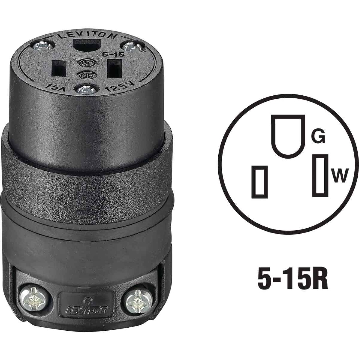 Do it 15A 125V 3-Wire 2-Pole Rough Use Cord Connector Image 1