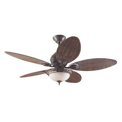 Hunter Caribbean Breeze 54 In. Weathered Bronze Ceiling Fan with Light Kit