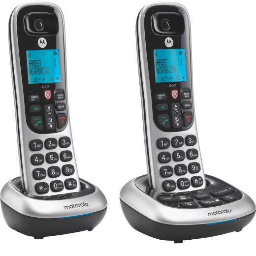 Motorola 1-Line 2-Handset Silver Cordless Phone with Answering System