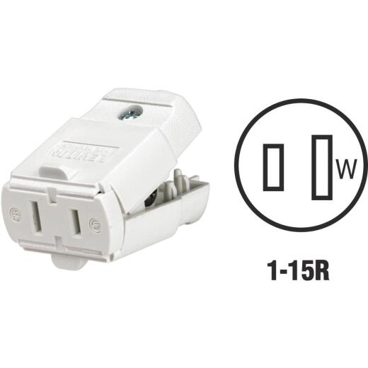 Leviton 15A 125V 2-Wire 2-Pole Hinged Cord Connector, White