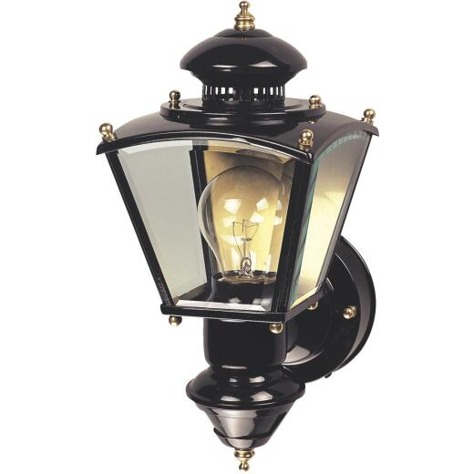 Heath Zenith Black Motion Activated/Dusk-To-Dawn Incandescent Outdoor Wall Light Fixture