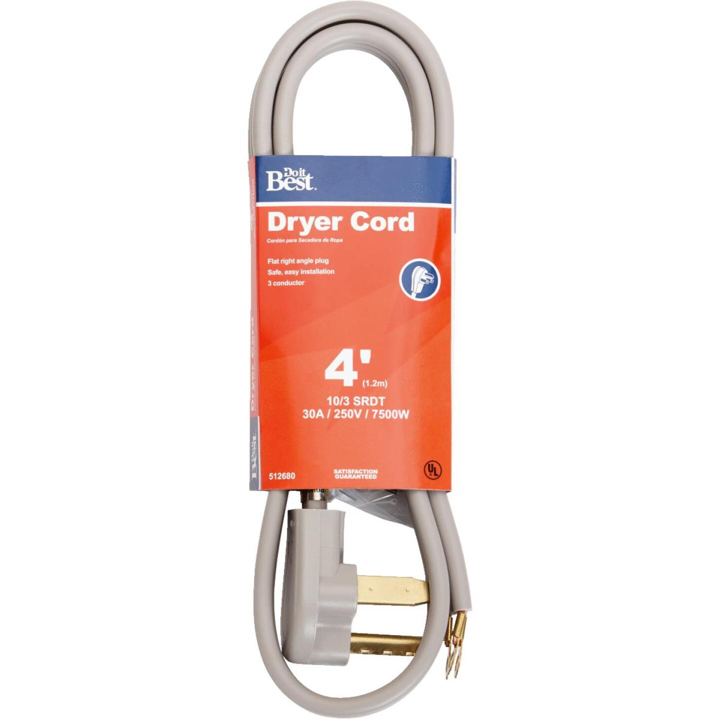 Do it Best 4 Ft. 10/3 30A Dryer Cord Image 1
