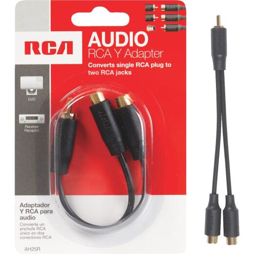 RCA 3 In. Single 3.5 mm Male Double 3.5 mm Female Y-Adapter