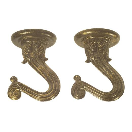 Westinghouse 1-1/2 In. Antique Brass Steel Swag Hook (2-Pack)