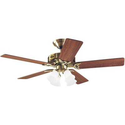 Hunter Studio 52 In. Antique Brass Ceiling Fan with Light Kit