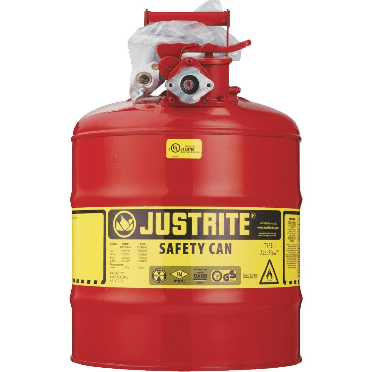 Justrite 5 Gal. Type II Galvanized Steel Safety Fuel Can, Red Image 2