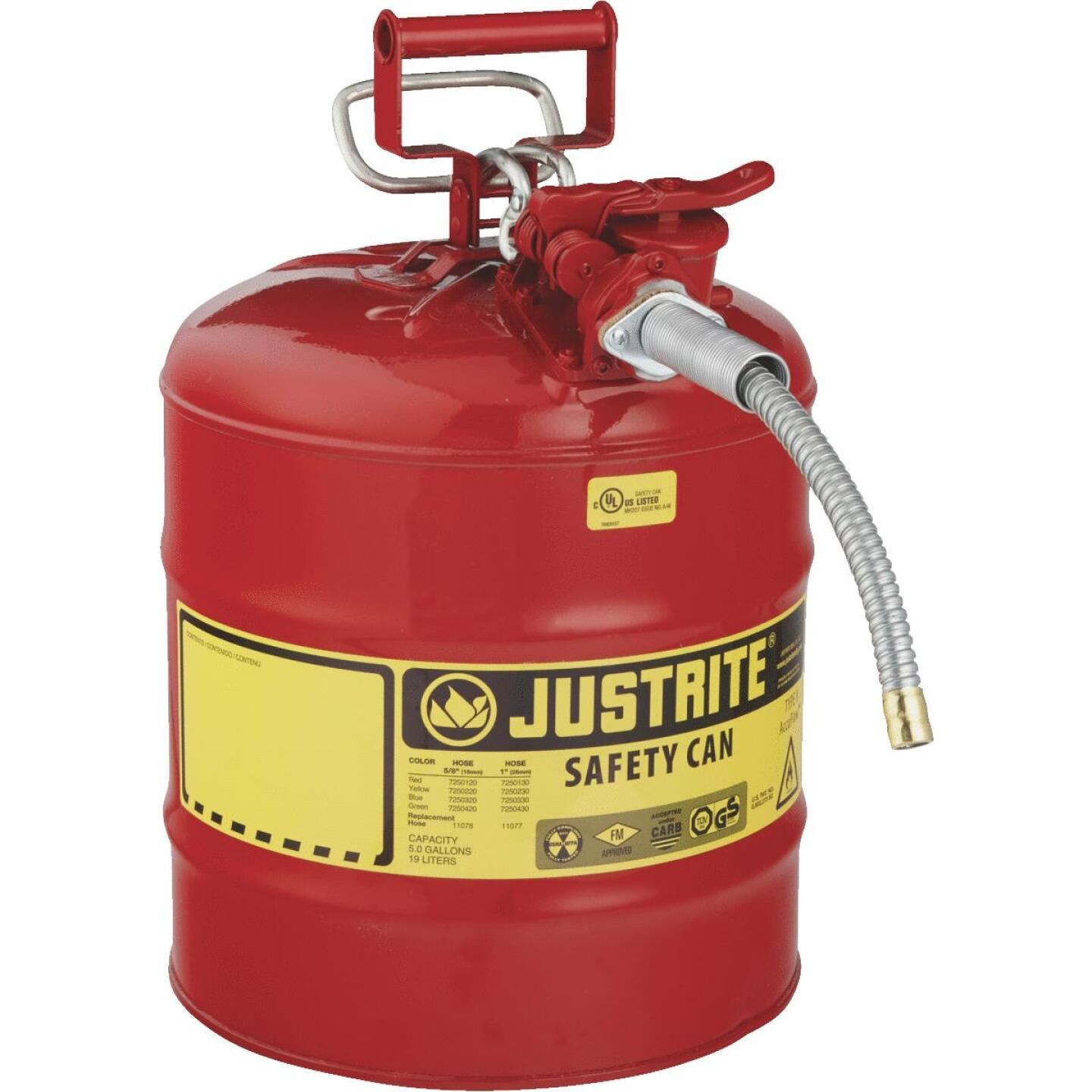 Justrite 5 Gal. Type II Galvanized Steel Safety Fuel Can, Red Image 1