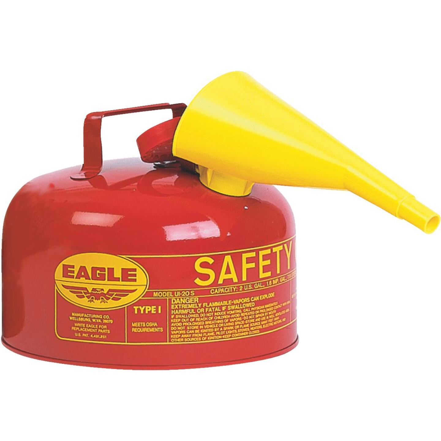 Eagle 2 Gal. Type I Galvanized Steel Gasoline Safety Fuel Can, Red Image 1