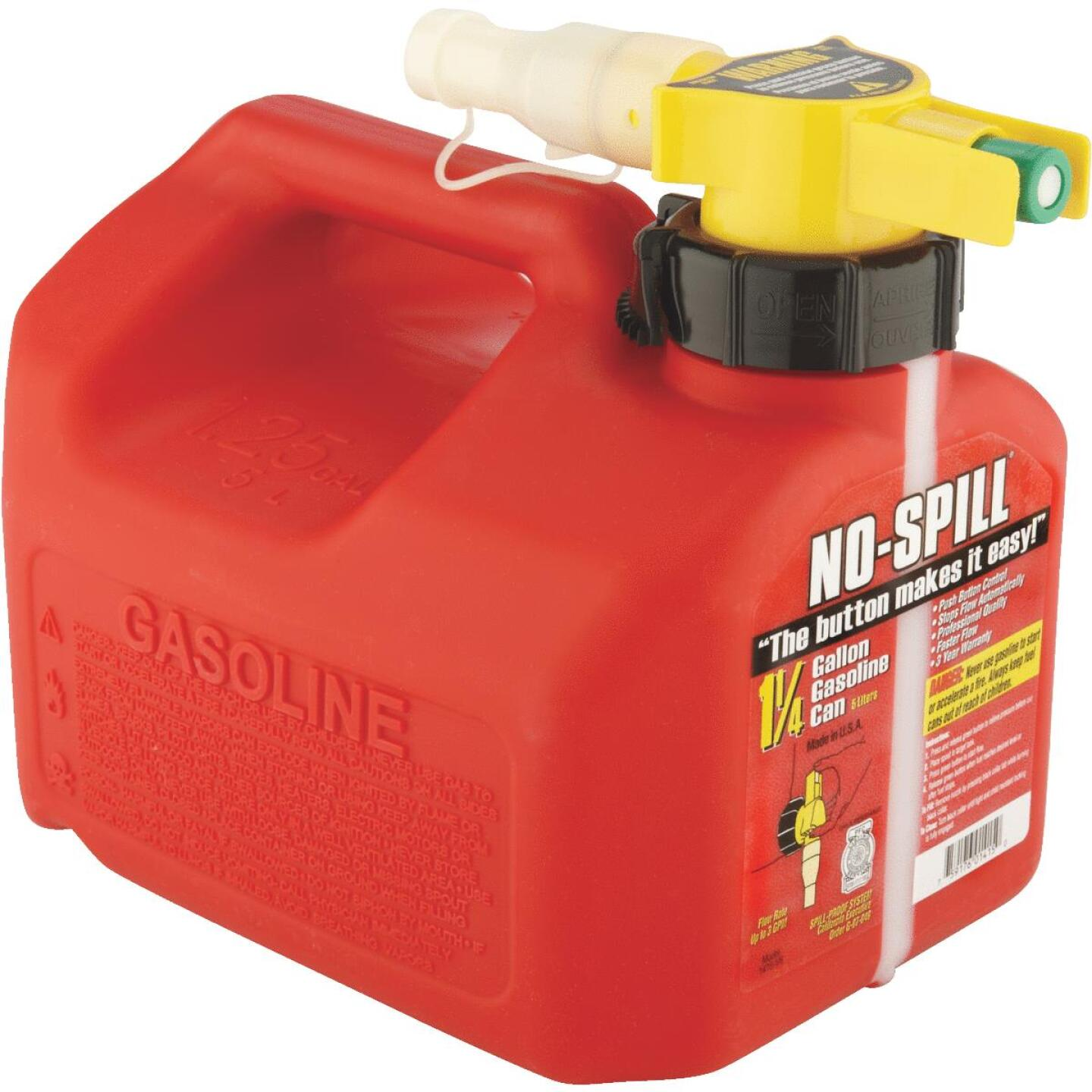 No-Spill 1-1/4 Gal. Plastic Gasoline Fuel Can, Red Image 4