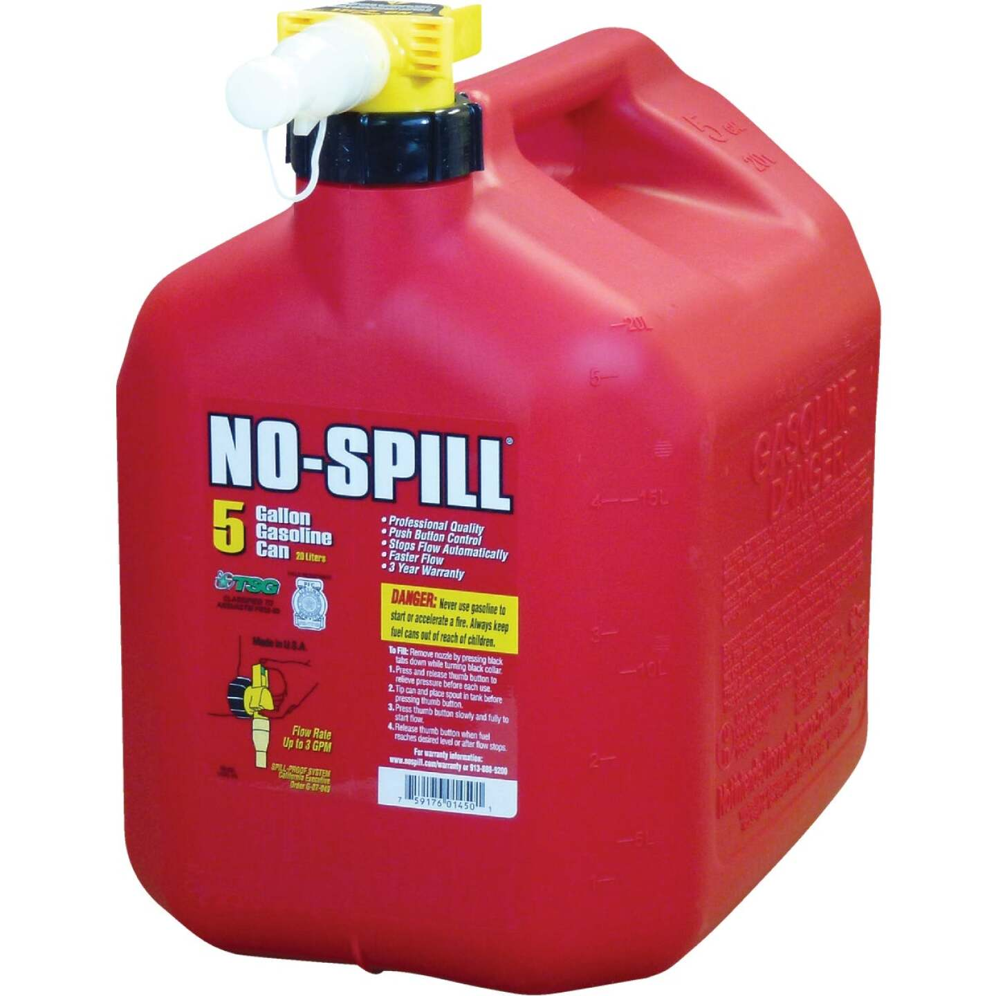 No-Spill 5 Gal. Plastic Gasoline Fuel Can, Red Image 1