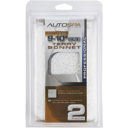 "Auto Spa 9"" To 10"" Washable Cotton Polishing Bonnet, (2-Pack)"