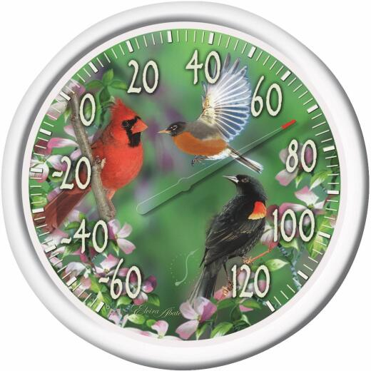 """Taylor 13-1/4"""" Dia Plastic Dial Birds Indoor & Outdoor Thermometer"""