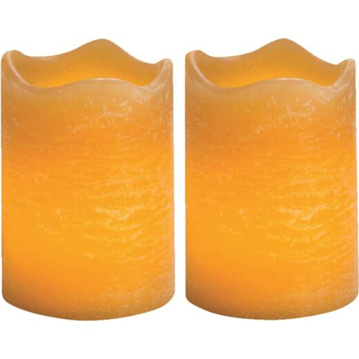 Inglow 2.5 In. H. x 2.5 In. Dia. Honey Rustic Wax Votive Flameless Candle (2-Pack)