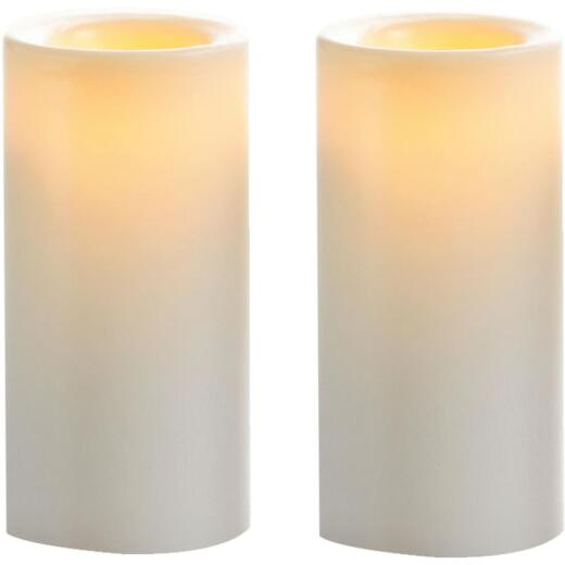 Inglow 3 In. H. x 1.75 In. Dia. White Wax-Covered Votive Flameless Candle (2-Pack)