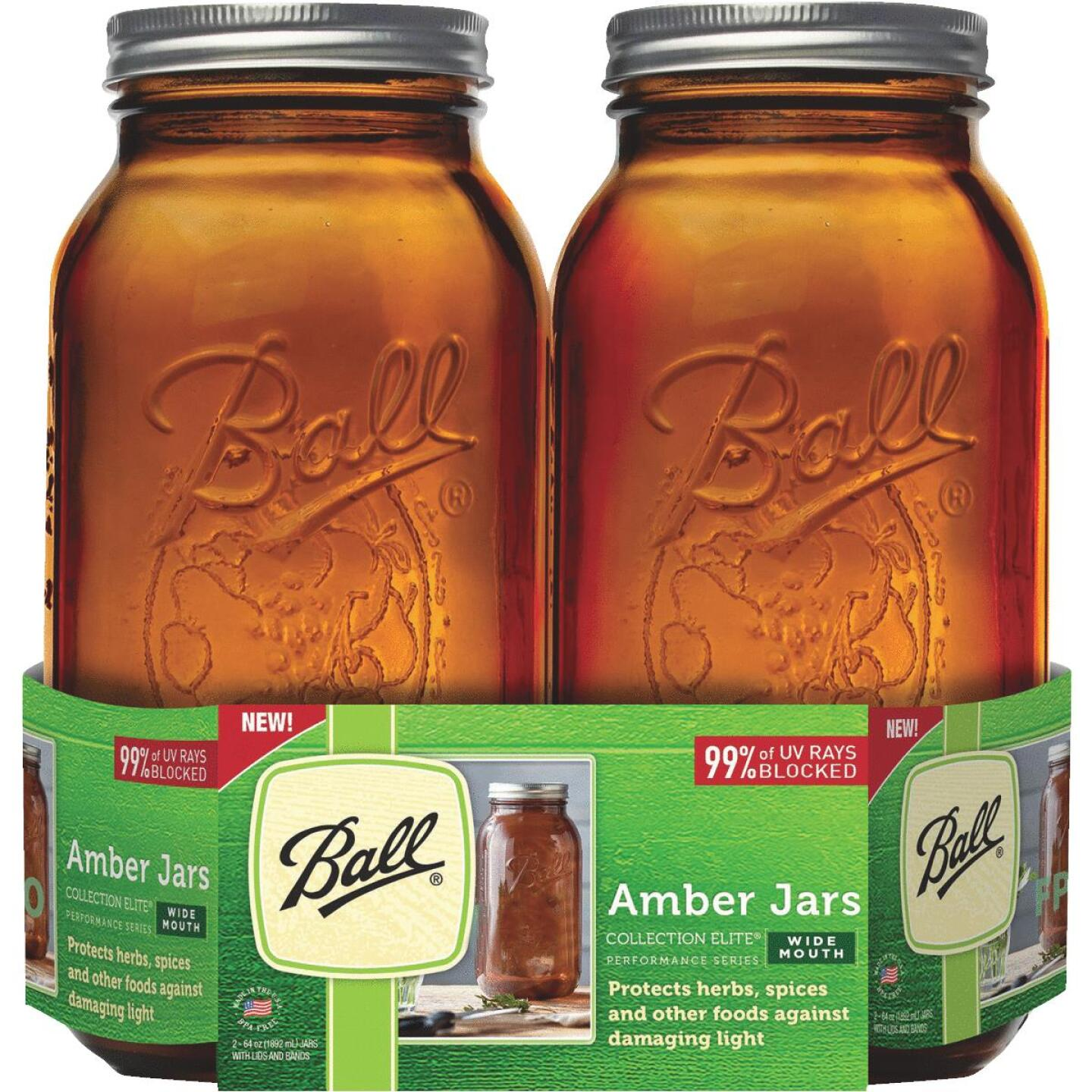 Ball Collection Elite 1/2 Gal. Wide Mouth Amber Canning Jar (2-Count) Image 1