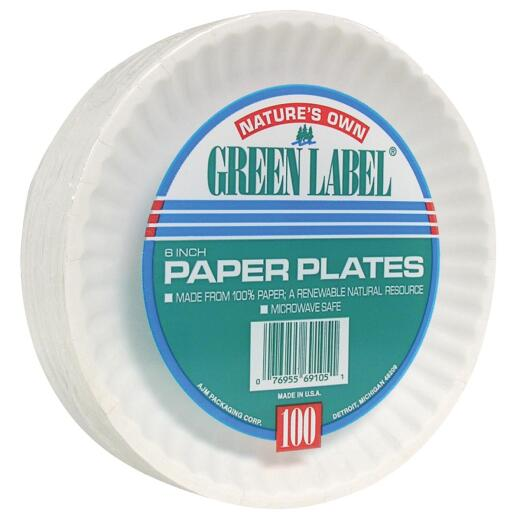 AJM Nature's Own Green Label 6 In. Paper Plates (100 Count)