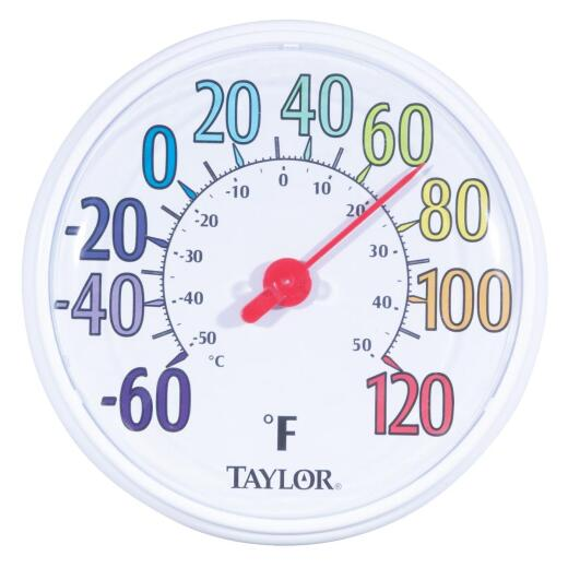 """Taylor 13-1/2"""" Farenheit And Celsius -60 To 120 F, -50 To 50 C Outdoor Wall Thermometer"""