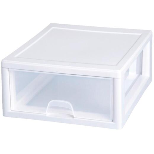 Sterilite 14 In. x 6 In. x 17 In. 16 Quart White Stackable Storage Drawer
