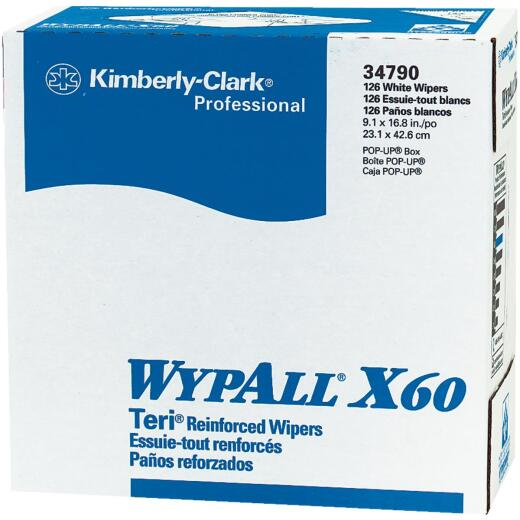 Kimberly Clark Wypall X60 White Pop-Up Teri Wiper Hand Towel (10 Count)