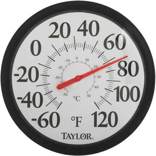 """Taylor 13-1/2"""" Fahrenheit and Celsius -60 To 120 F, -50 To 50 C Outdoor Wall Thermometer"""