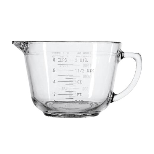 Anchor Hocking Essentials 2 Qt. Clear Glass Measuring Batter Bowl
