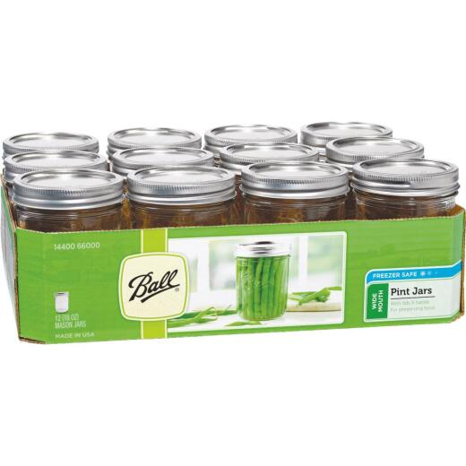 Ball Pint Wide Mouth Can-Or-Freeze Mason Canning Jar (12-Count)