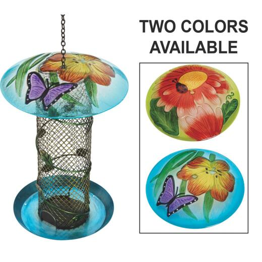 Best Garden Multi-Colored Glass Mesh Tube Bird Feeder