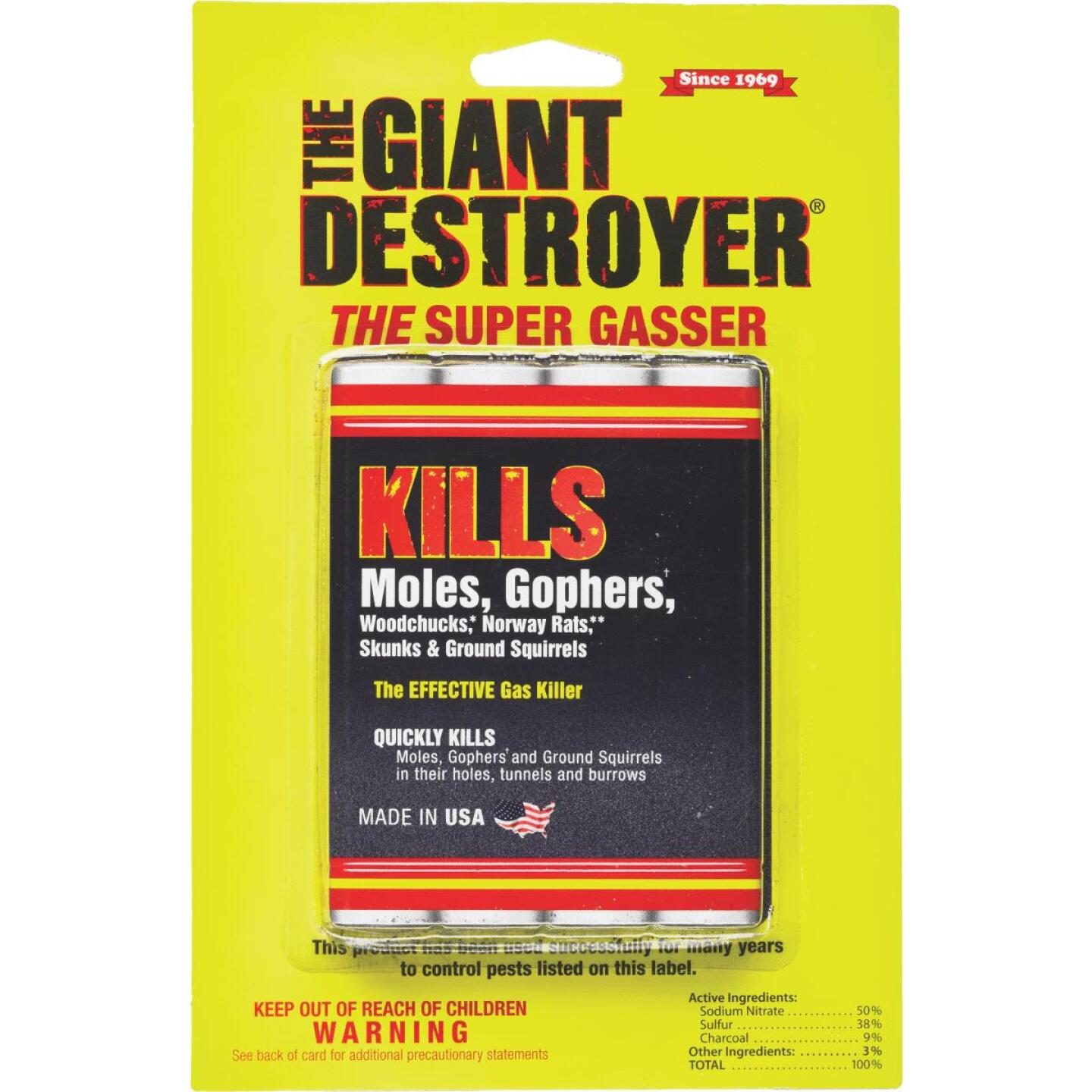 Atlas Giant Destroyer 4-Pack Gas Cartridges Mole & Gopher Killer Image 1