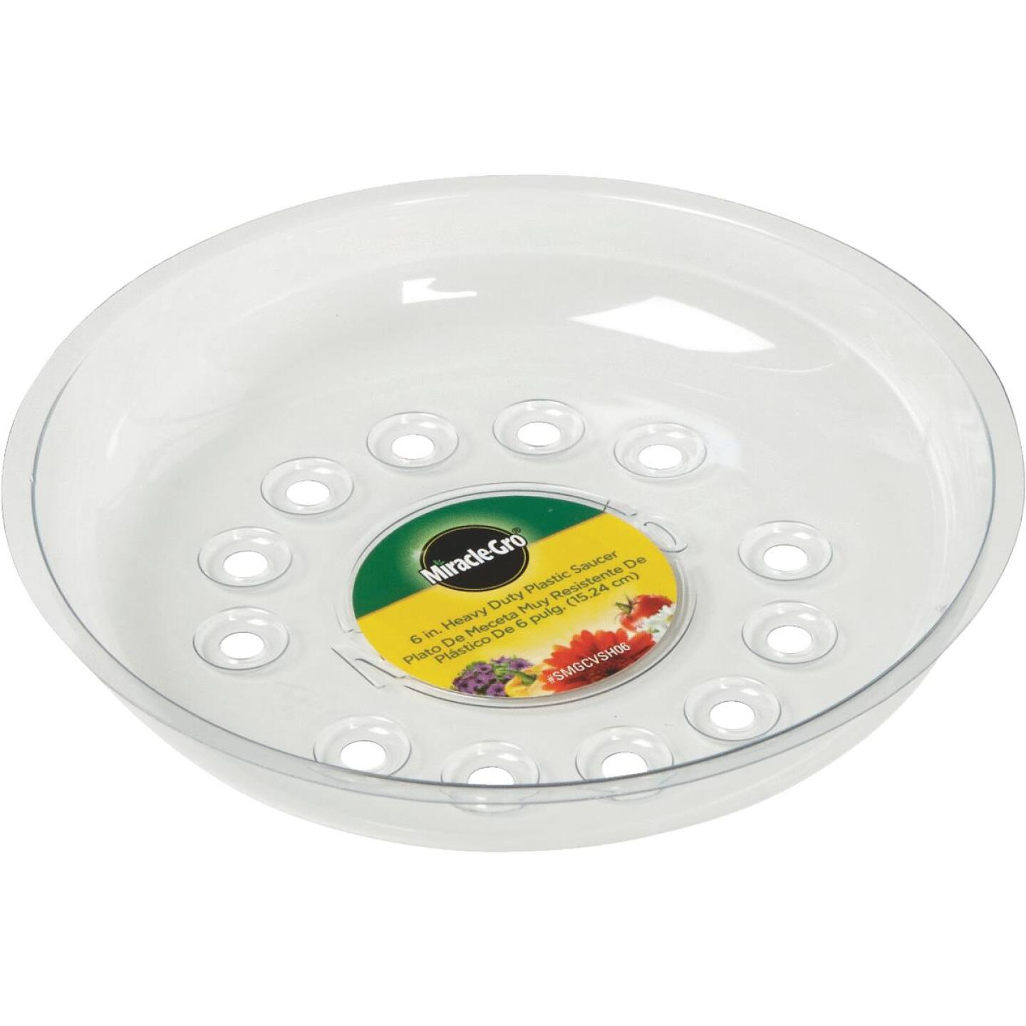 Miracle-Gro 6 In. Clear Plastic Flower Pot Saucer Image 1