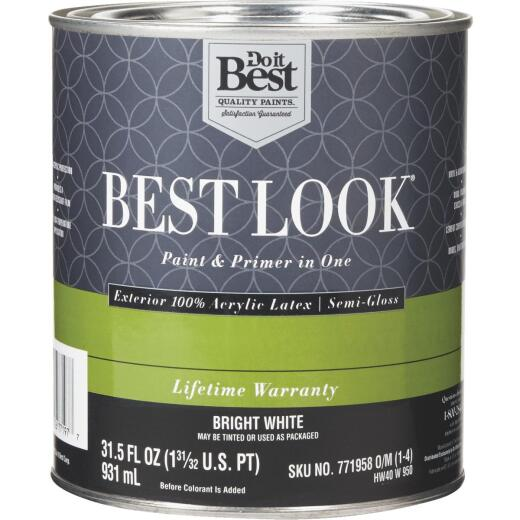 Best Look 100% Acrylic Latex Paint & Primer In One Semi-Gloss Exterior House Paint, Bright White, 1 Qt.
