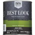 Best Look 100% Acrylic Latex Paint & Primer In One Semi-Gloss Exterior House Paint, Bright White, 1 Qt. Image 2