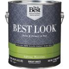 Best Look 100% Acrylic Latex Paint & Primer In One Semi-Gloss Exterior House Paint, Bright White, 1 Gal. Image 1