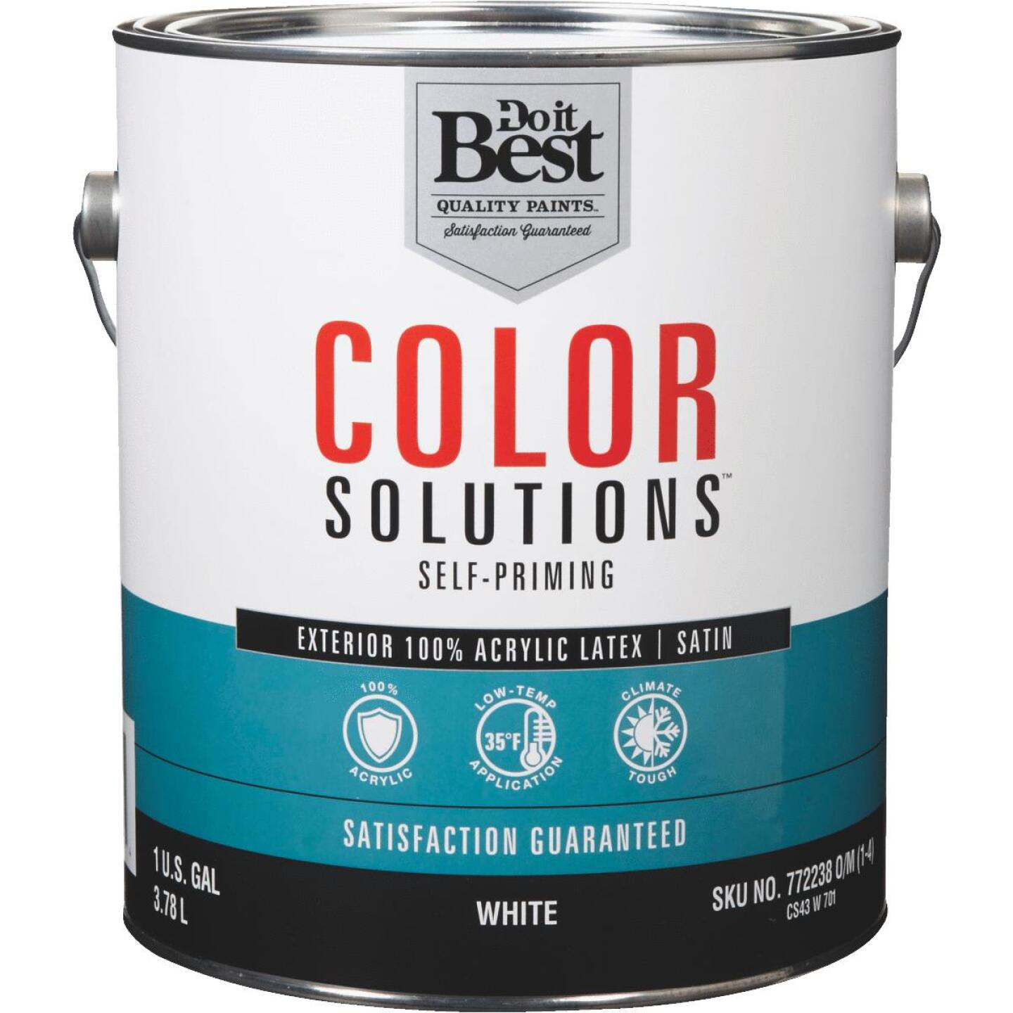 Do it Best Color Solutions 100% Acrylic Latex Self-Priming Satin Exterior House Paint, White, 1 Gal. Image 1