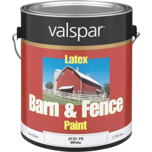 Valspar Latex Paint & Primer In One Flat Barn & Fence Paint, White, 1 Gal.