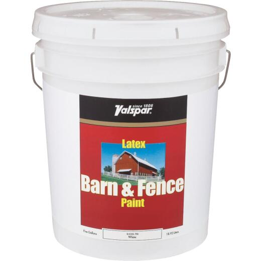 Valspar Latex Paint & Primer In One Flat Barn & Fence Paint, White, 5 Gal.