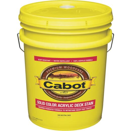 Cabot Solid Color Acrylic Decking Stain, Neutral Base, 5 Gal.