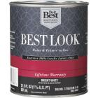 Best Look 100% Acrylic Latex Paint & Primer In One Flat Exterior House Paint, Bright White, 1 Qt. Image 1