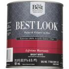 Best Look 100% Acrylic Latex Paint & Primer In One Flat Exterior House Paint, Bright White, 1 Qt. Image 2