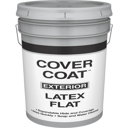 Cover Coat Latex Flat Exterior House Paint, White, 5 Gal.