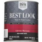 Best Look 100% Acrylic Latex Paint & Primer In One Flat Exterior House Paint, High Hiding White, 1 Qt. Image 2