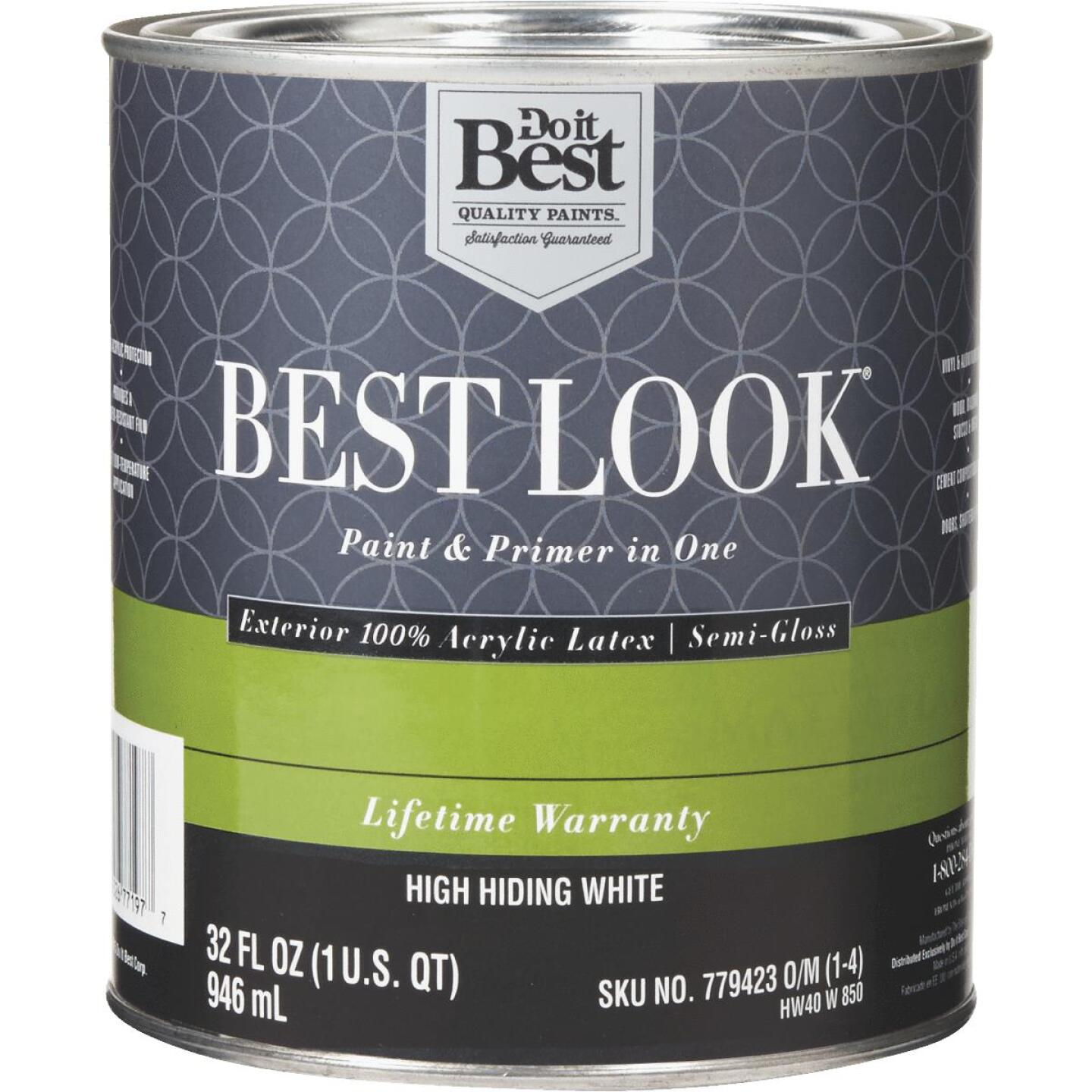 Best Look 100% Acrylic Latex Paint & Primer In One Semi-Gloss Exterior House Paint, High Hiding White, 1 Qt. Image 1