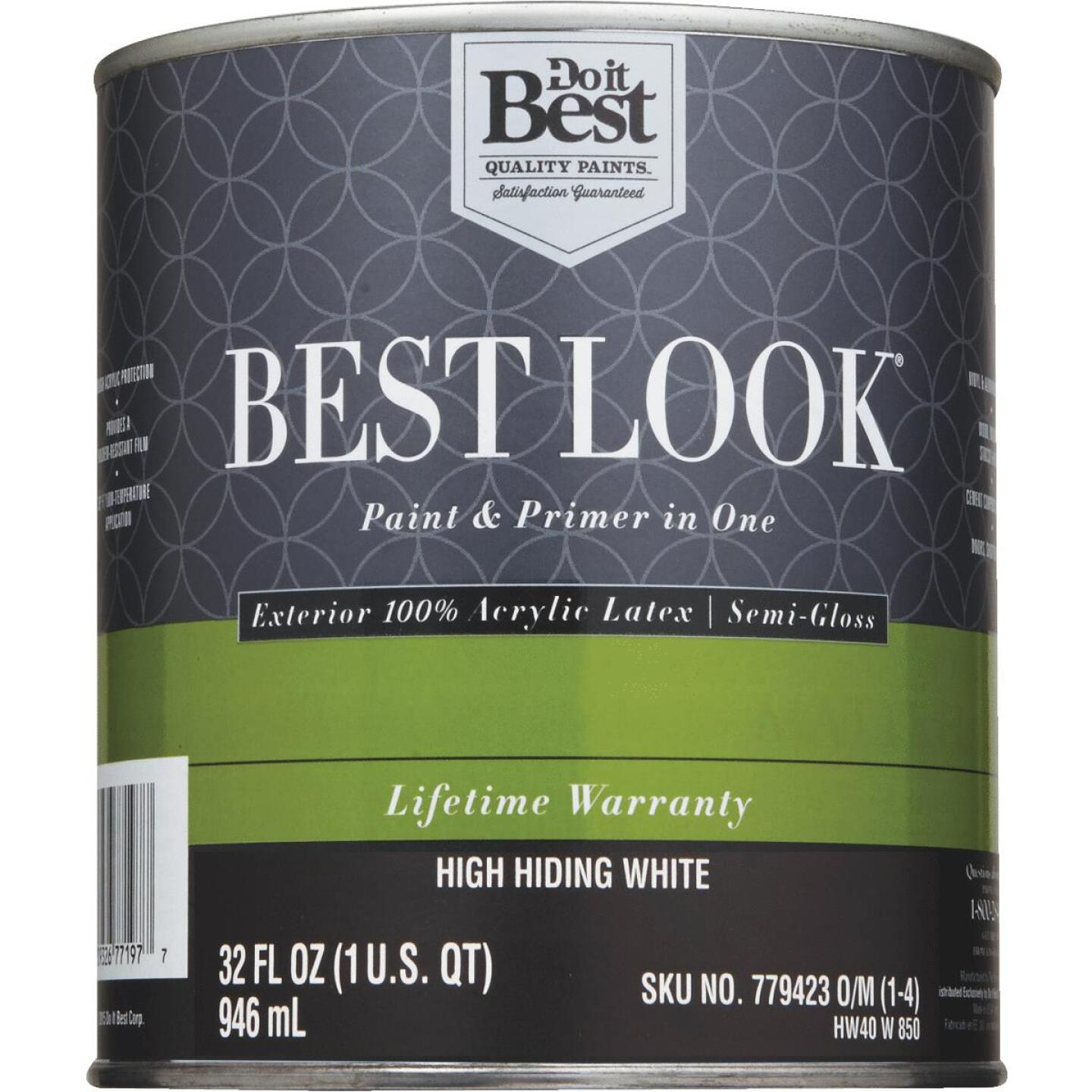 Best Look 100% Acrylic Latex Paint & Primer In One Semi-Gloss Exterior House Paint, High Hiding White, 1 Qt. Image 2