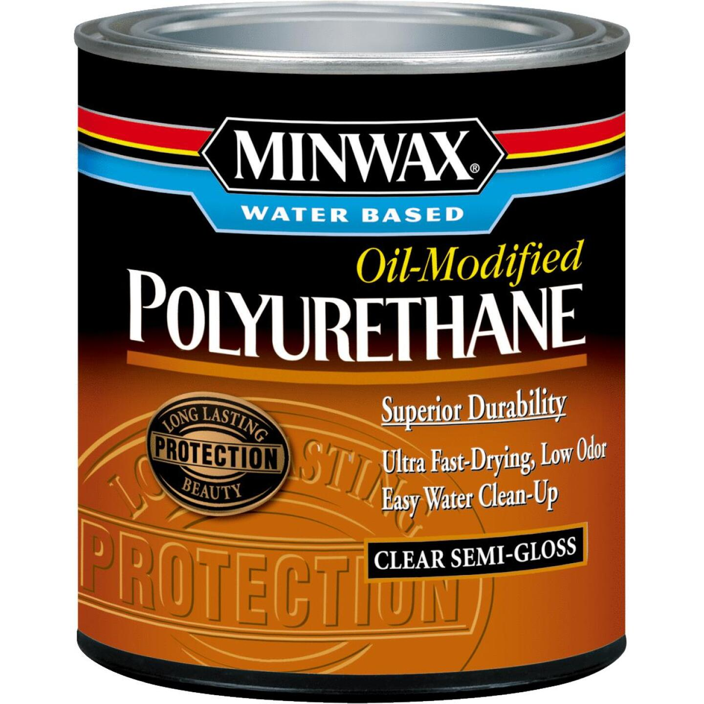 Minwax Semi-Gloss Water Based Oil-Modified Interior Polyurethane, 1/2 Pt. Image 1