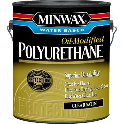 Minwax Satin Water Based Oil-Modified Interior Polyurethane, 1 Gal.