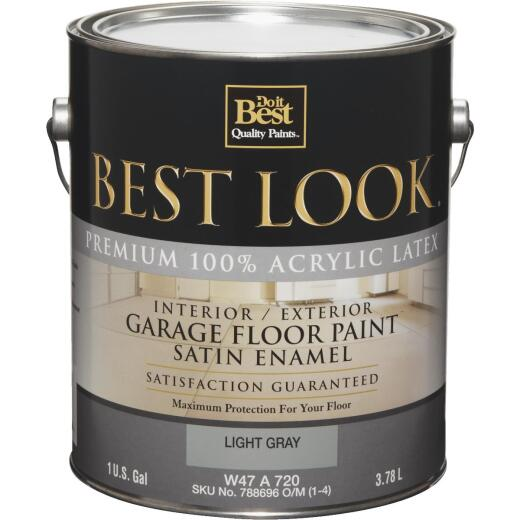 Best Look Latex Interior/Exterior Garage Floor Enamel, 1 Gal., Light Gray