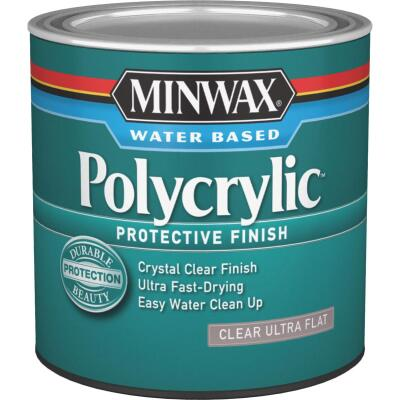 Minwax Polycrylic Clear Ultra Flat Protective Finish, 1/2 Pt.