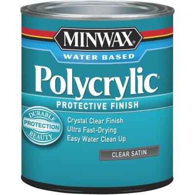 Minwax Polycrylic 1 Qt. Satin Water Based Protective Finish