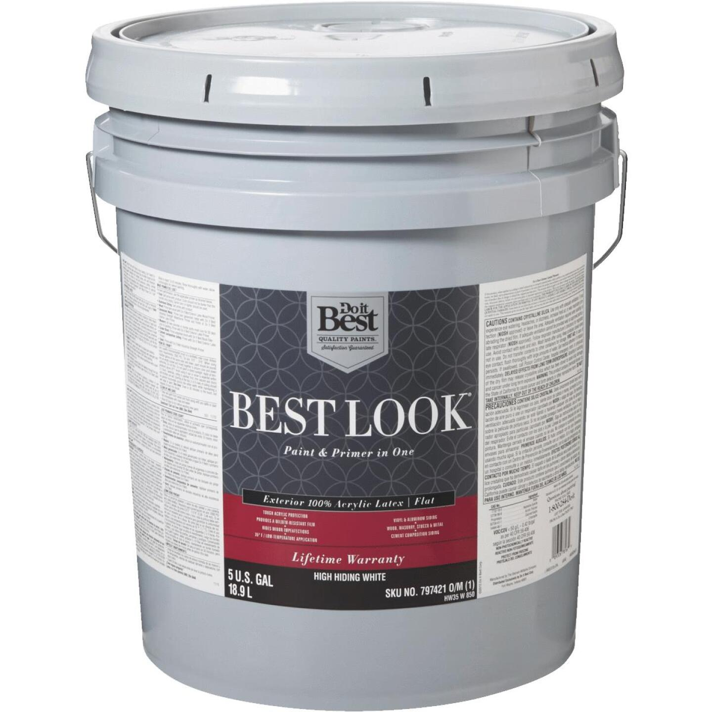 Best Look 100% Acrylic Latex Paint & Primer In One Flat Exterior House Paint, High Hiding White, 5 Gal. Image 1