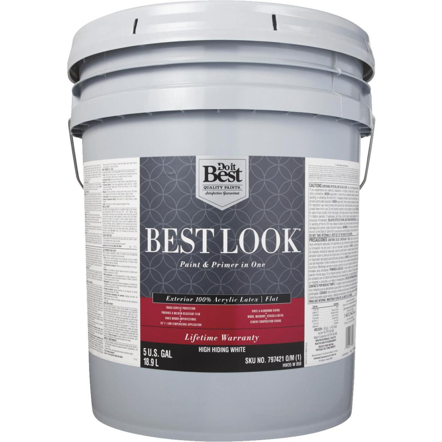 Best Look 100% Acrylic Latex Paint & Primer In One Flat Exterior House Paint, High Hiding White, 5 Gal. Image 2